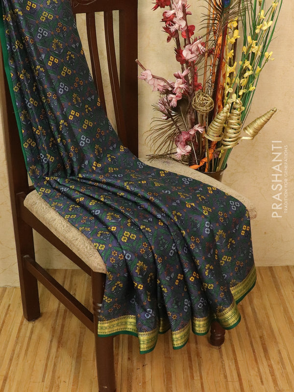 Pure Mysore Crepe silk saree elephant grey and green with allover prints and zari woven border