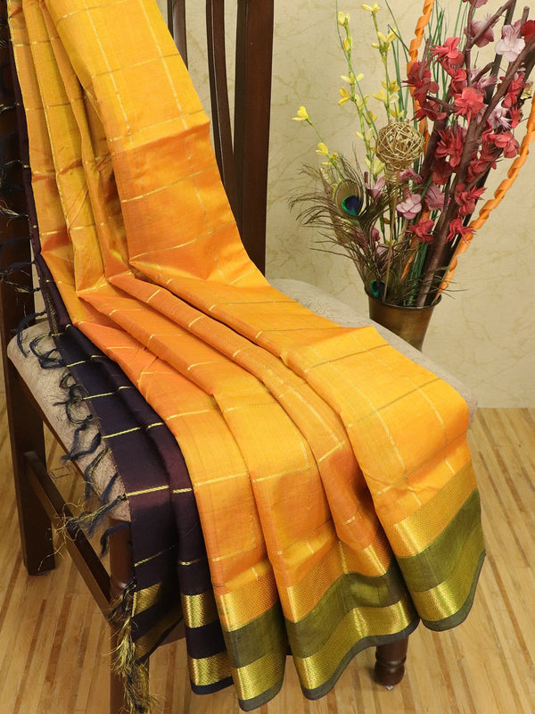 Silk cotton partly saree yellow and coffee brown with zari checks and rettapet border