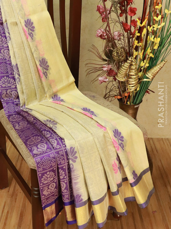 Silk cotton partly saree off white and violet with thread woven buttas and zari woven border