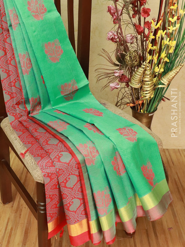 Silk cotton partly saree teal and red with thread woven buttas and zari woven border