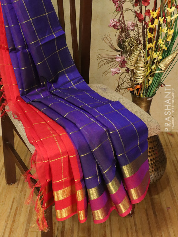 Silk cotton partly saree blue and red with zari checks and rettapet border