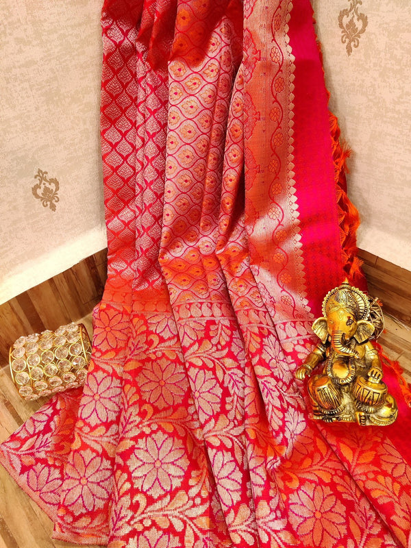 Pure Kanjivaram silk saree dual shade of orange and pink with allover golden zari small buttas in borderless style