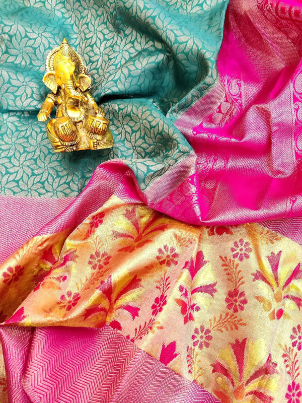 Pure Kanjivaram silk saree blue and pink with allover silver zari weaves and pure thread and zari woven norder
