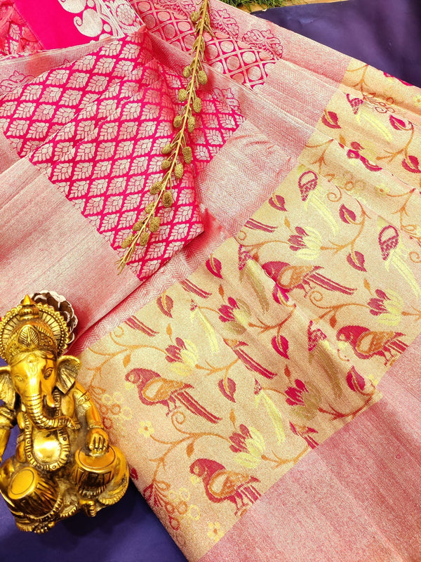Pure Kanjivaram silk saree pink with allover silver zari brocade pattern with zari and thread woven border