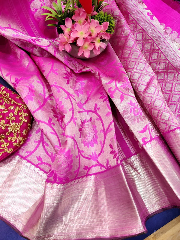 Pure Kanjivaram silk tissue saree pink with allover silver zari floral weaves and zari border