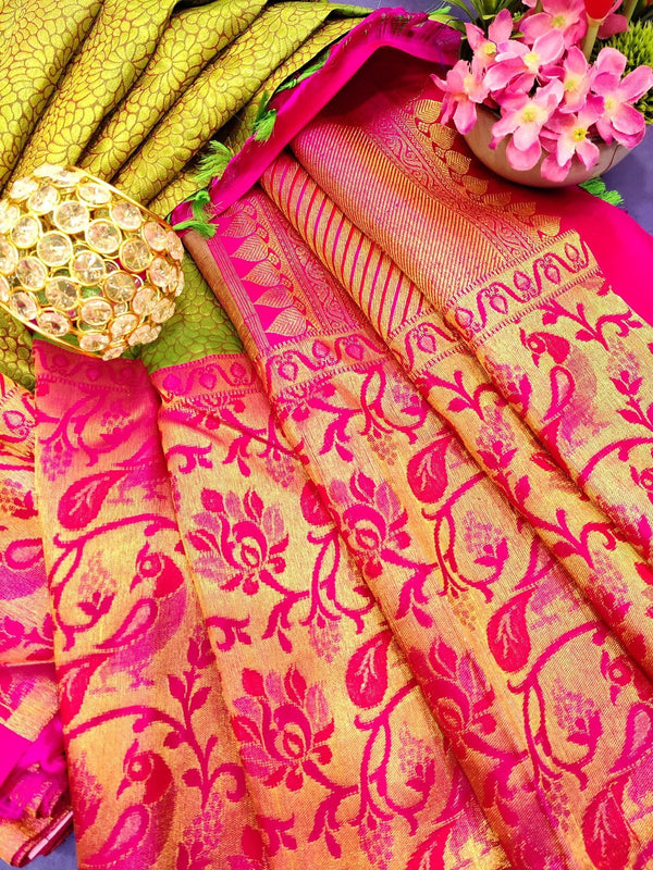 Pure Kanjivaram silk tissue saree green and pink with allover floral weaves and peacock woven border