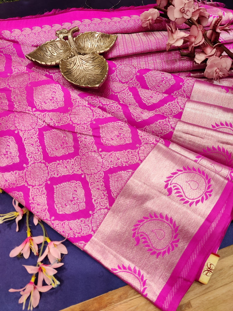 Pure Kanjivaram silk saree pink with silver zari checks and buttas with zari woven border