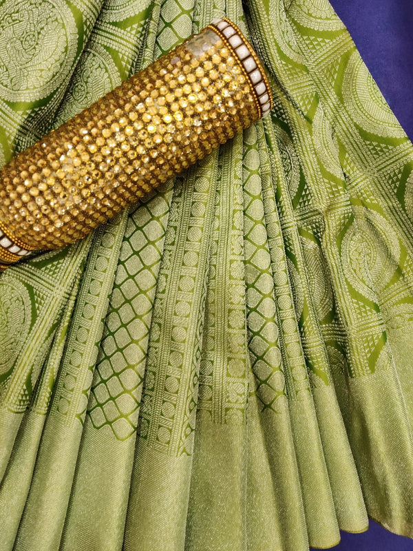 Pure Kanjivaram silk saree dual shade of green with checked pattern buttas and silver zari woven border