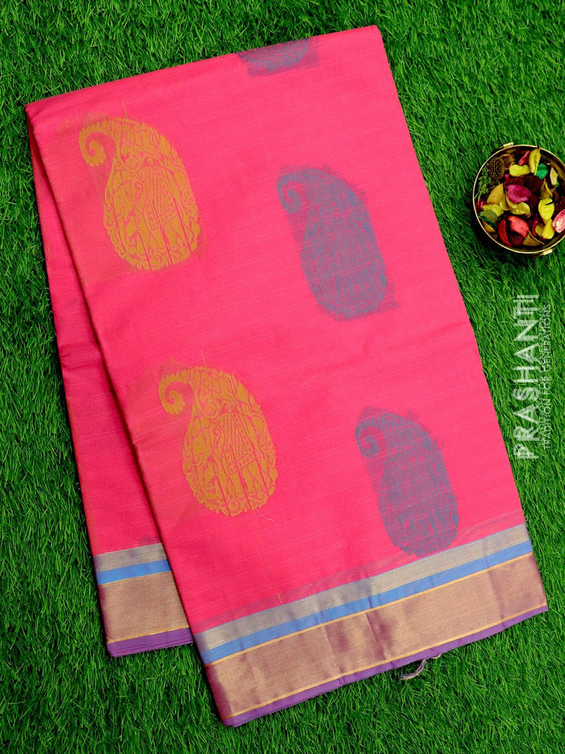 Handloom Cotton Saree candy pink with thread woven buttas and zari border