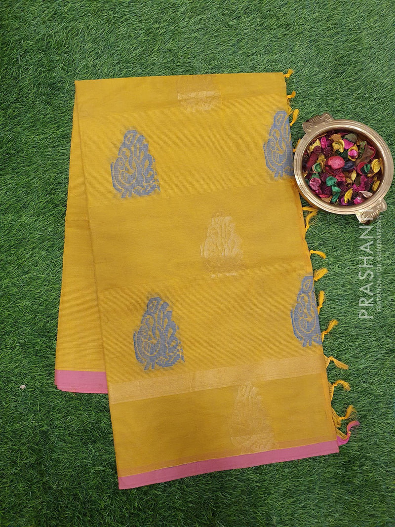 Handloom Cotton Saree yellow and pink with thread woven buttas and zari buttas border