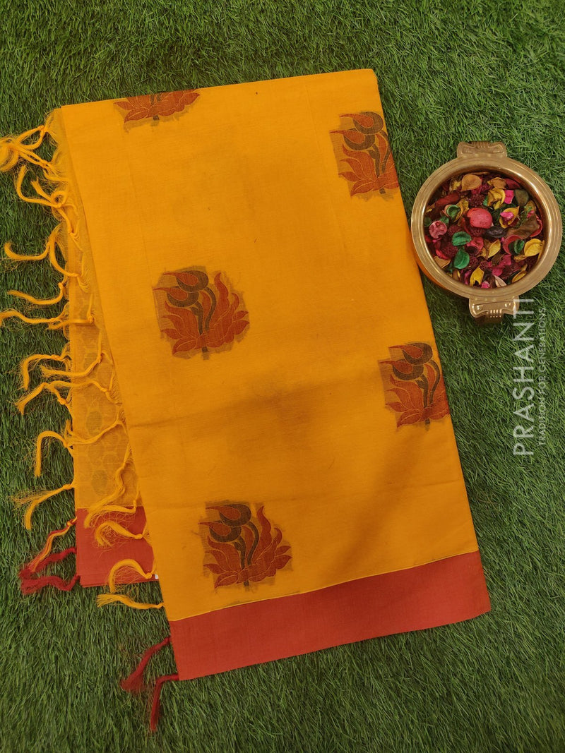 Handloom Cotton Saree yellow and red with thread buttas and simple border