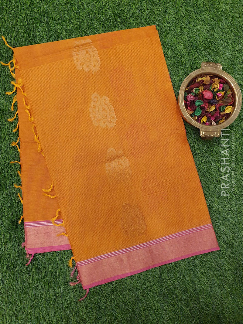 Handloom Cotton Saree mustard yellow and pink with thread woven buttas and zari border