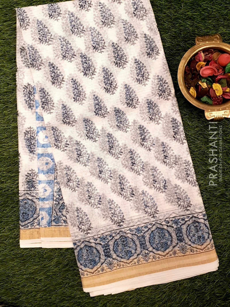 Kota Doria saree white and blue with floral prints