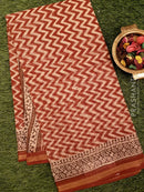 Kota Doria saree maroon with zig zag prints
