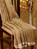 Pure Linen sarees chiku with silver zari border and embroided blouse