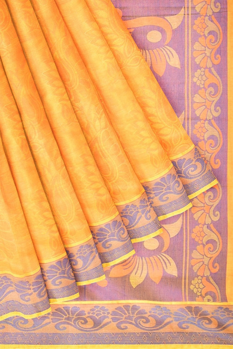 Coimbatore Cotton Emboss Saree - Yellow