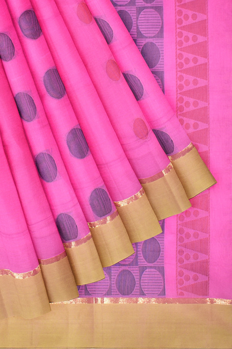 Coimbatore Cotton Saree - Dark Pink