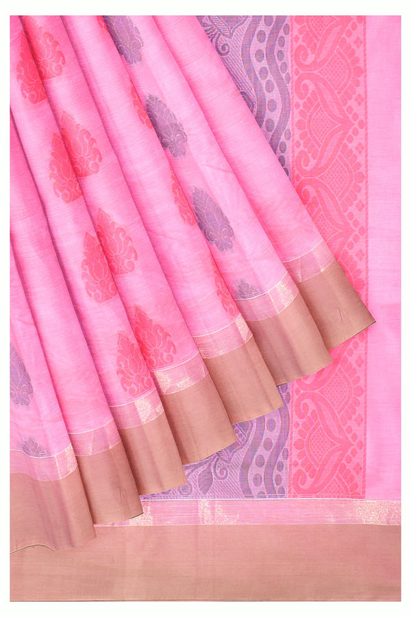 Coimbatore Cotton Saree - Light Pink