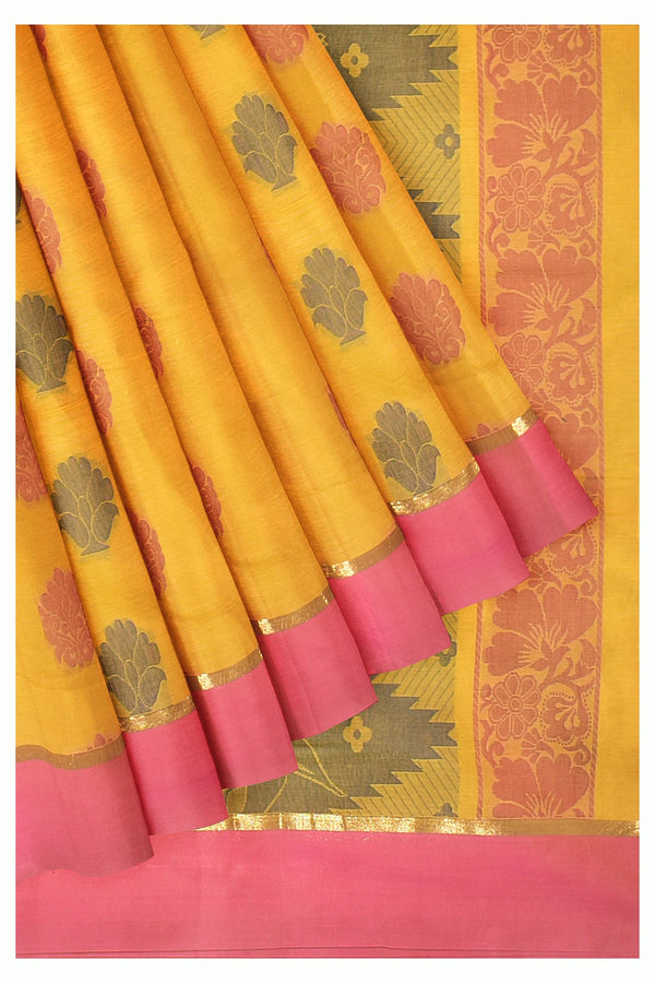 Coimbatore Cotton Saree - Yellow