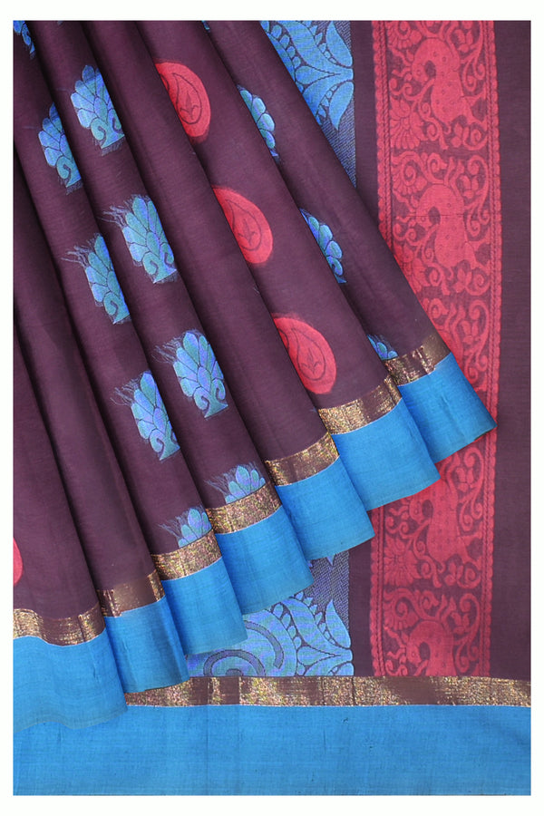 Coimbatore Cotton Saree - Dark Blue