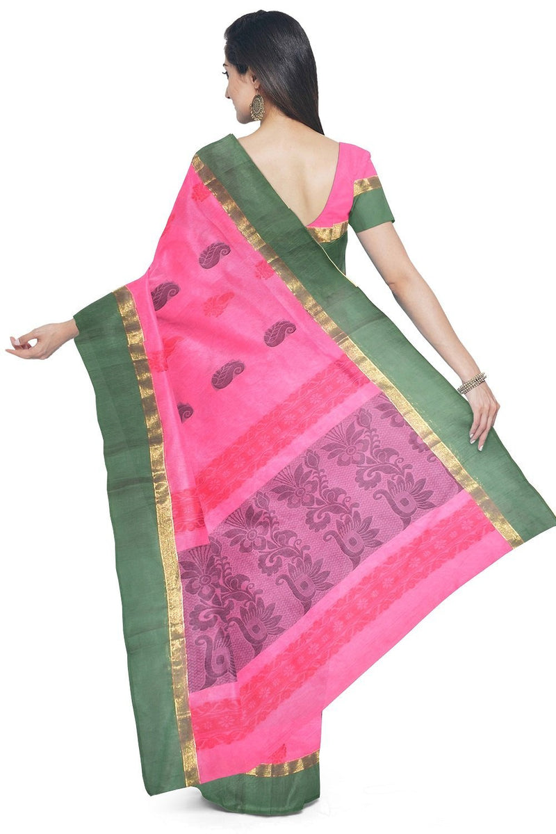 Coimbatore Cotton Butta Saree - Dark Pink