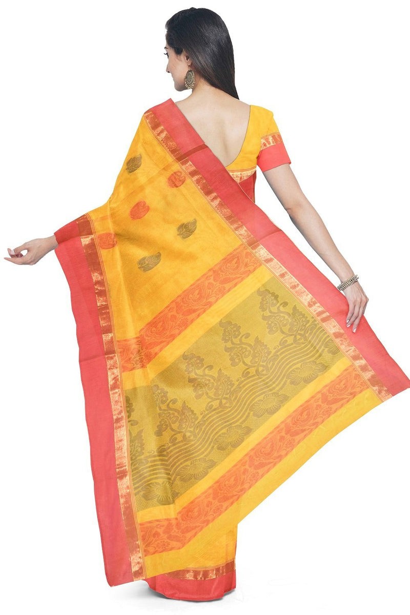 Coimbatore Cotton Butta Saree - Yellow