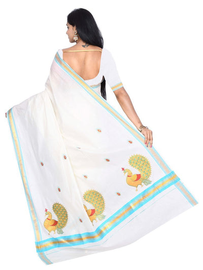 coimbatore Cotton Saree - White and Sky blue