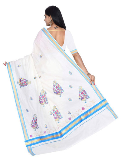 coimbatore Cotton Saree - White and Blue