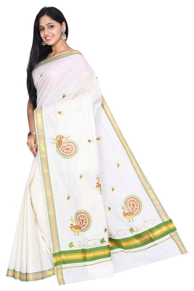 coimbatore Cotton Saree - White  and Green