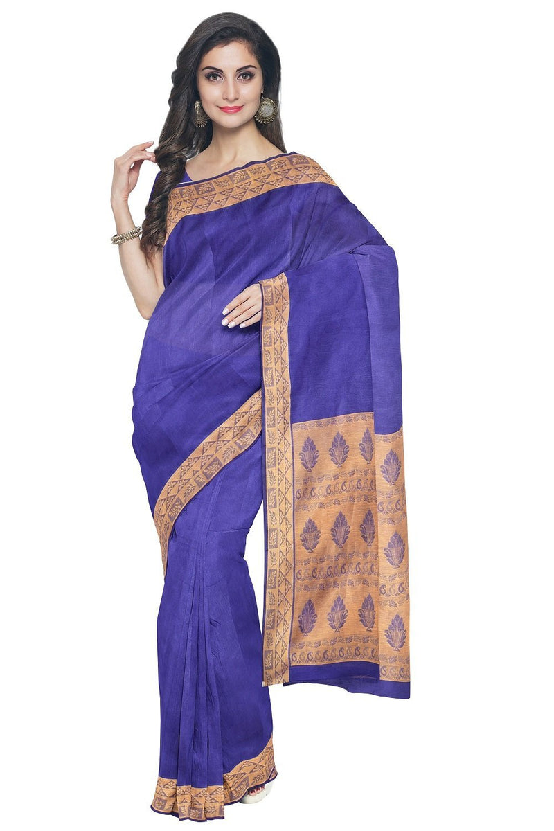 Coimbatore Cotton Emboss Saree - Blue