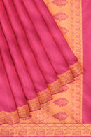 Coimbatore Cotton Emboss Saree - Dark Pink