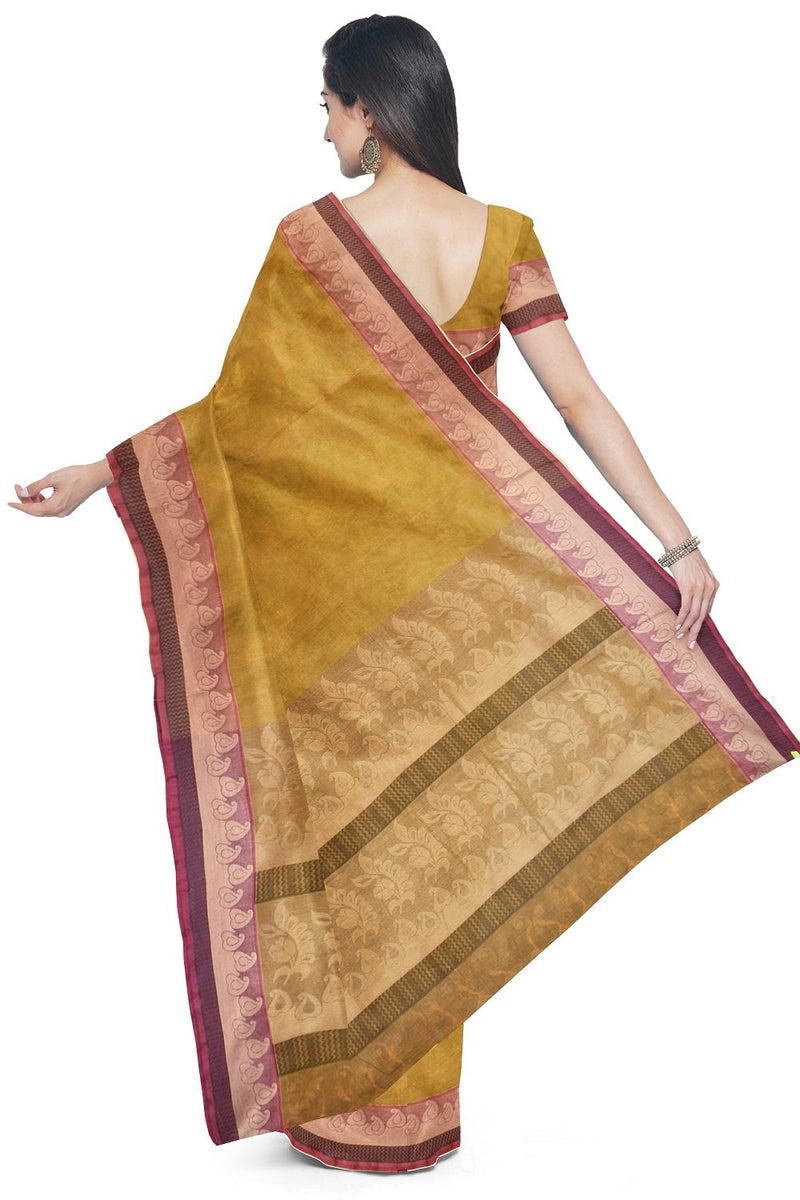 Coimbatore Cotton Fancy Emboss Saree - Mustard