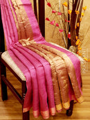 Pure Matka saree pink with allover golden zari checks and border