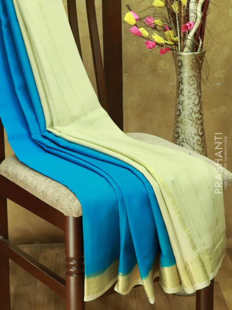 Mysore Crepe Silk Saree blue and off white with rich zari border