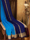 Mysore Crepe Silk Saree cs blue and violet with rich zari border
