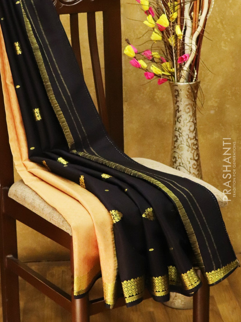 Mysore Crepe Silk Saree beige and black with allover self emboss and golden zari border