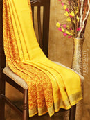 Mysore Crepe Silk Saree yellow with allover floral prints and golden zari border