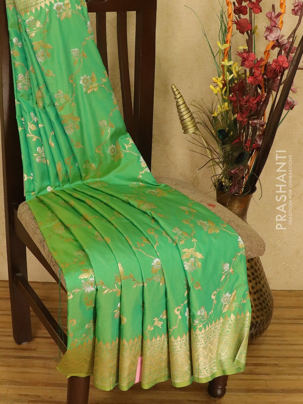 Balucheri semi silk saree dual shade of green and yellow with allover floral zari weaves and zari border