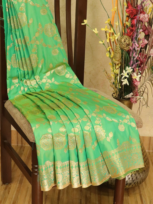 Balucheri semi silk saree dual shade of light green and yellow with allover floral zari weaves and zari border