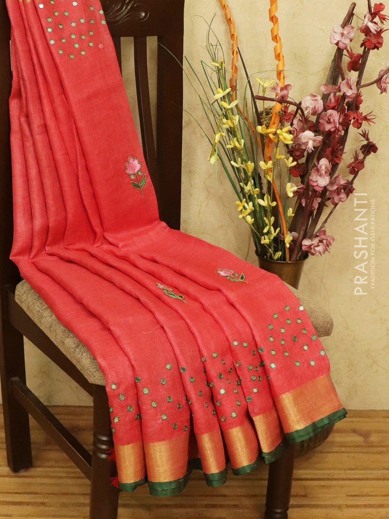 Pure linen Saree red and green with mirror embroidery work and zari border