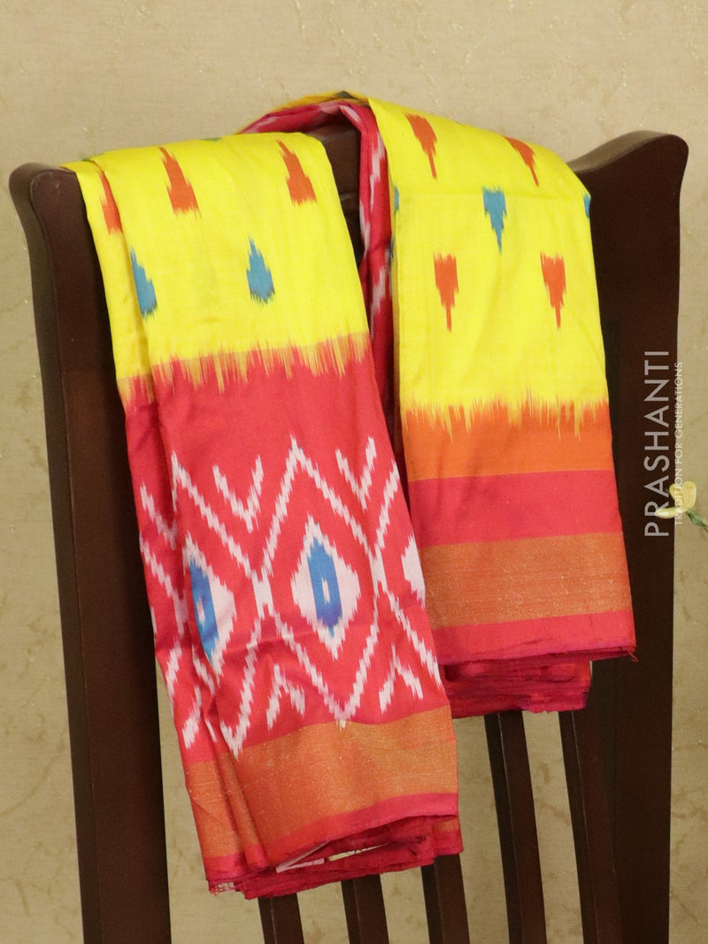 Pochampally silk saree yellow and pink with ikat weaves and zari woven ikat border