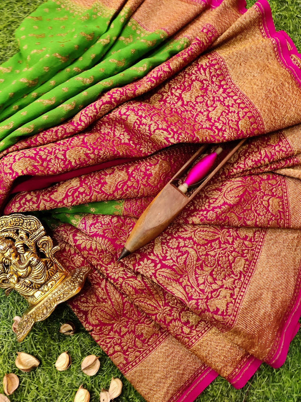 Pure banarasi Georgette Saree parrot green and rani pink with allover small zari buttas and long zari border