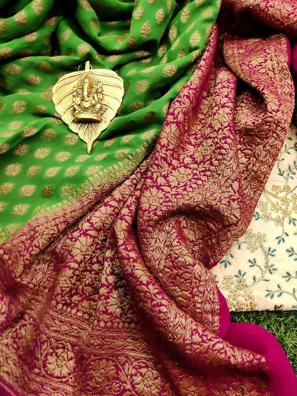 Pure banarasi Georgette Saree light green and pink with allover zari buttas and rich zari border
