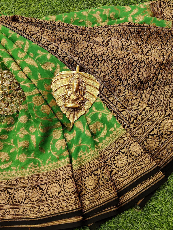 Pure banarasi Georgette Saree green and black with allover zari weaves and rich zari border