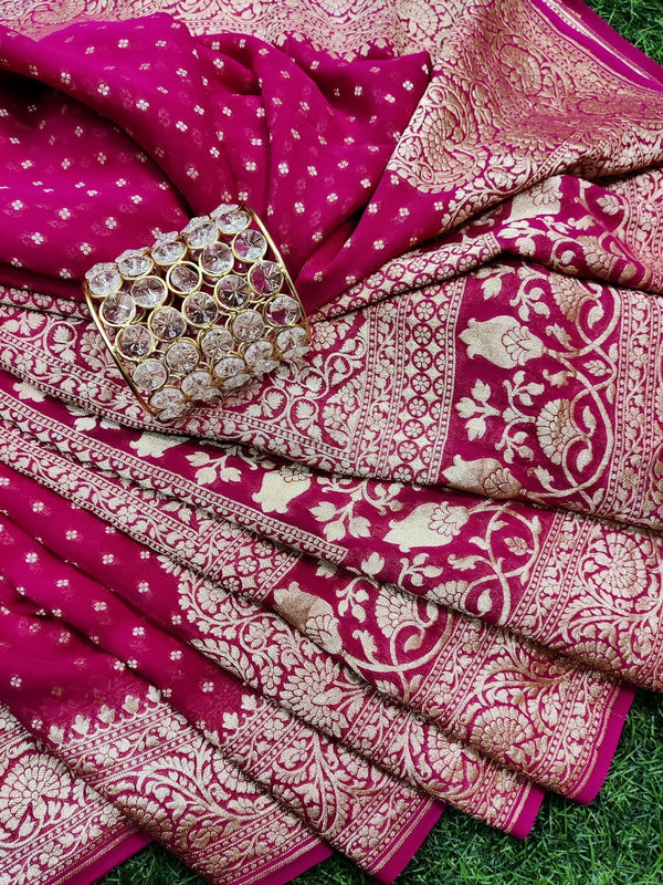 Pure banarasi Georgette Saree pink with allover small zari buttas and rich zari border