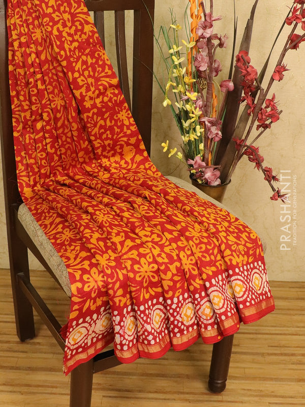 Chanderi bagru saree red with allover floral prints and small zari border