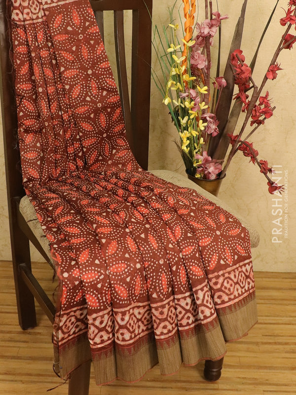 Chanderi bagru saree brown with allover floral prints and geecha border