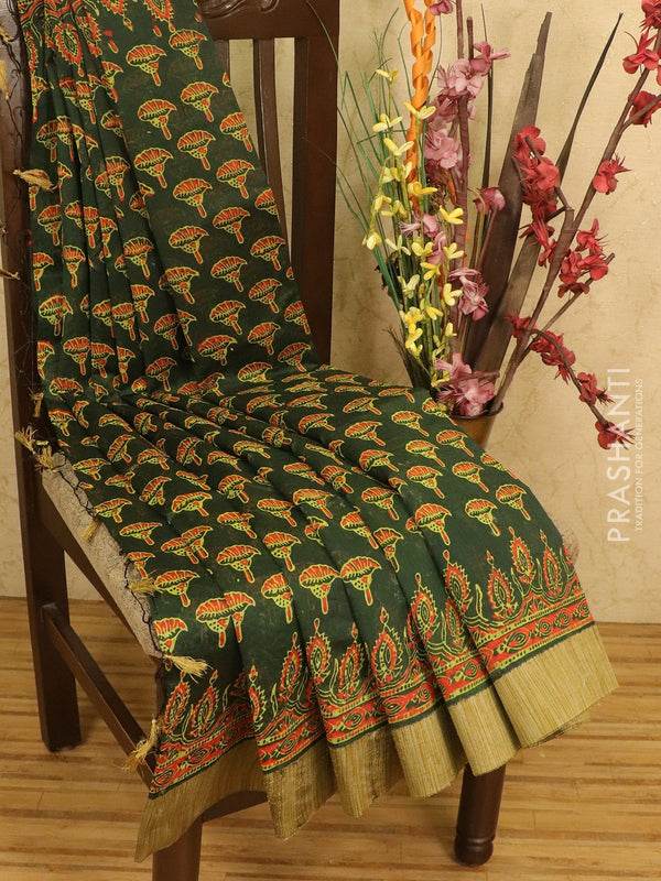 Chanderi bagru saree green with allover floral prints and geecha border