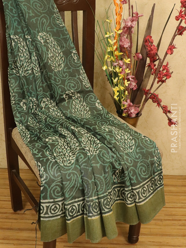 Chanderi bagru saree green with dabu prints and geecha border