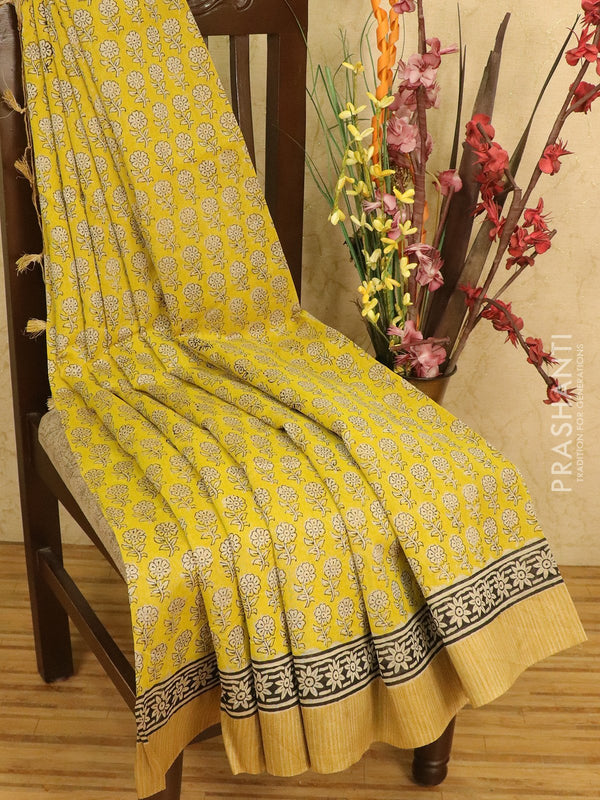 Chanderi bagru saree lime yellow with allover floral prints and geecha border